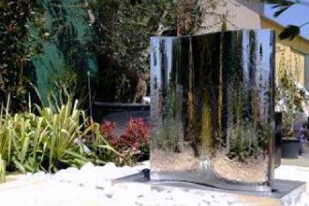 Fontaine et mur d'eau en inox 120cm Brillant